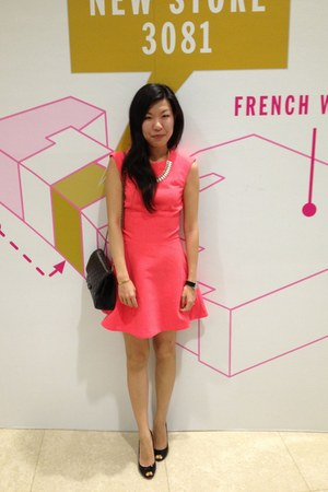 hot pink H&amp;M dress - black 255 Chanel bag - ivory J Crew necklace