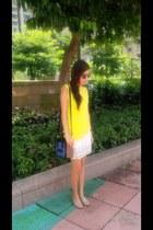 blue nano luggage Celine bag - peach Zara loafers - neutral lace Zara skirt