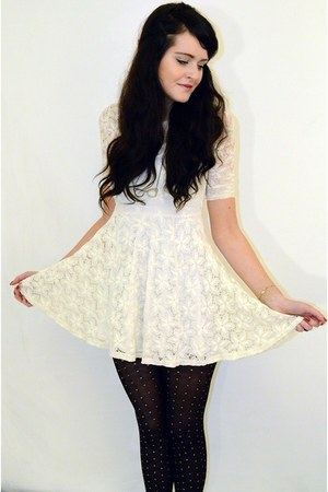 white lace River Island dress - black polka dot Primark tights