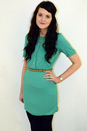 gold chain Topshop belt - teal Lovestruck dress - black wool Primark tights
