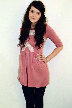 bubble gum lace Love dress - black wool Primark tights