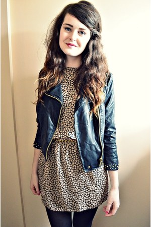 black studded Zara jacket - beige hearts Primark dress