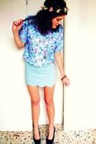 light blue vintagte shirt - light purple vintage skirt