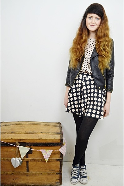 black leather jacket Zara jacket - black polka dots Primark skirt