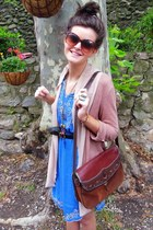 blue Primark dress - tawny vintage bag