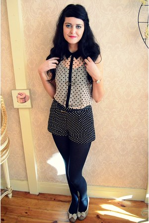 black polka dot Primark shorts - off white polka dot Primark top