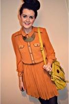 mustard collar Primark dress - mustard satchel bag