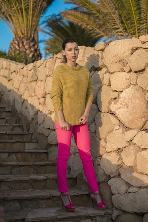lime green wool Zara sweater - hot pink skinny H&M pants - hot pink Zara sandals
