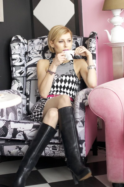 black Zara boots - white H&M dress - silver snake H&M bag