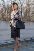 crimson leather vintage skirt - light blue checked Mango shirt - nude Zara heels