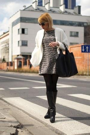 white H&M jumper - black Zara boots