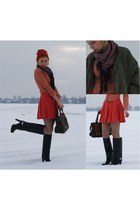 orange beanie H&M hat - black givenchy like Zara boots