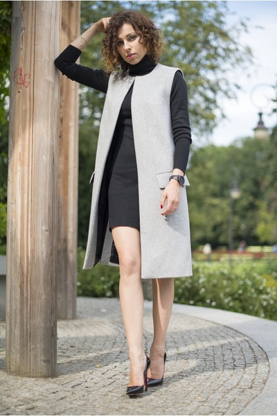 black turtleneck Atmosphere dress - heather gray long Zara vest