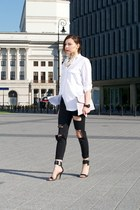 white oversized Zara shirt - black ripped H&M pants