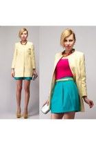 yellow checkerboard Zara coat - turquoise blue Zara skirt