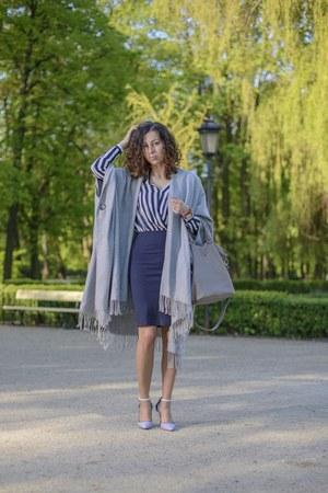 heather gray poncho H&M cape - navy pencil H&M dress