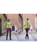 chartreuse H&M bag - navy Bershka boots - hot pink H&M shorts