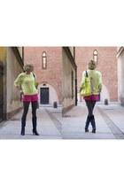 chartreuse H&M bag - navy Bershka boots - hot pink H&M shorts