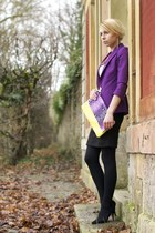 light yellow Promod blouse - purple Zara jacket - black pencil Zara skirt
