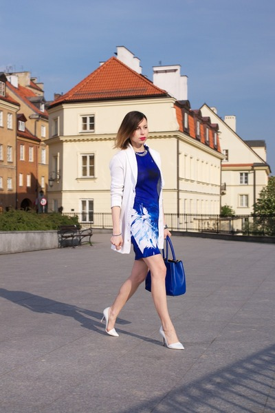 blue romwe dress - white H&M cardigan - white asymmetrical Zara heels