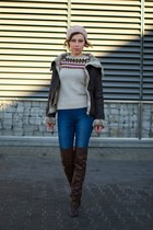 brick red aviator Bershka jacket - crimson over knee Zara boots