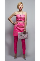 hot pink strapless H&M dress - white new look bag - hot pink H&M pants