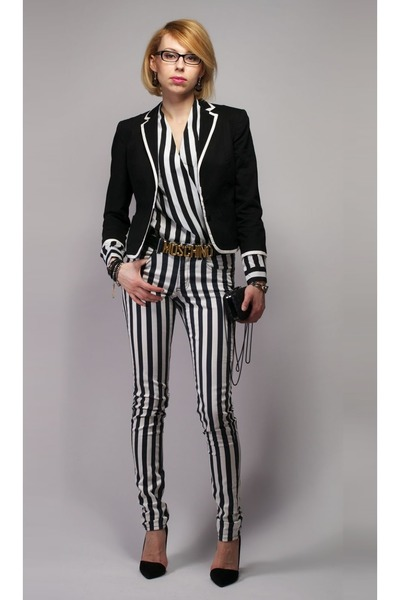 H&M jacket - stripped New Yorker pants - Moschino belt