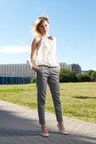 silver creased Zara pants - ivory transparent shirt
