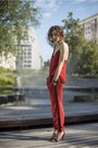 Red-track-suit-zara-suit-black-ankle-strap-mango-sandals-black-timex-watch