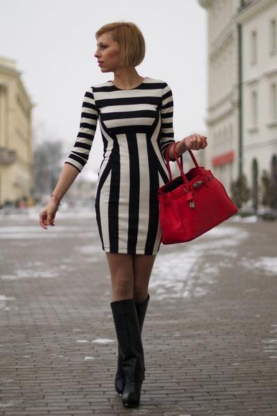 Black Zara Boots H&m Dress