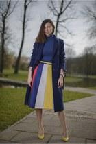 yellow midi Front Row Shop skirt - navy wool Zara coat - yellow Aldo heels