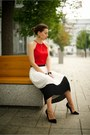 Red-second-hand-top-white-pleated-skirt-river-island-skirt