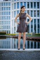 brown leather Zara dress - brown open toe Zara heels - gold chain H&M bracelet