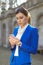 White-zara-shirt-blue-zara-heels-blue-zara-suit