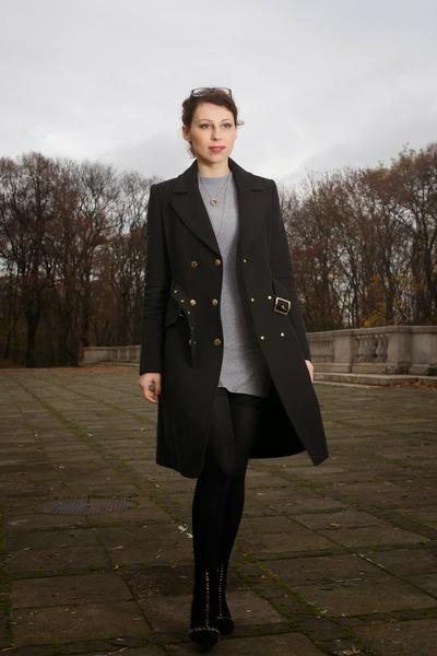 black studded Zara boots - black Mango coat - silver Zara sweater