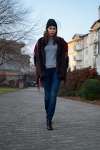 magenta fur H&M coat - navy Zara jeans - black veiled H&M hat