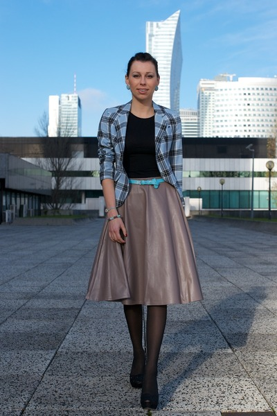 light blue tartan second hand blazer - heather gray leather PresKA skirt