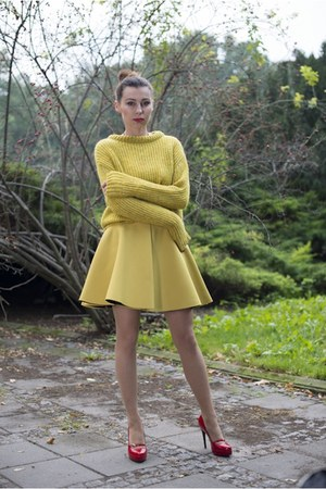 lime green Zara sweater - lime green skater H&M Trend skirt - red kazar heels