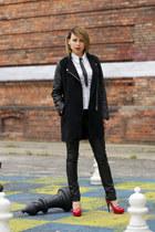 leather New Yorker pants - romwe jacket - Promod shirt - kazar heels