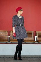black kazar boots - white romwe dress - red beret hat