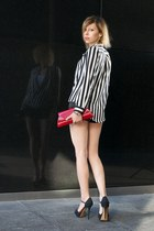 white striped Zara shirt - black Zara shorts