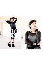 H&M sweater - new era hat - bra - Topshop skirt - Jeffrey Campbell heels