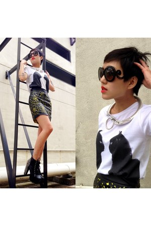 Jeffrey Campbell shoes - H&M x MMM necklace - Singapore skirt - Prada glasses