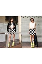 Something Borrowed Collection skirt - Topshop jacket - top - Jennifer Chou heels