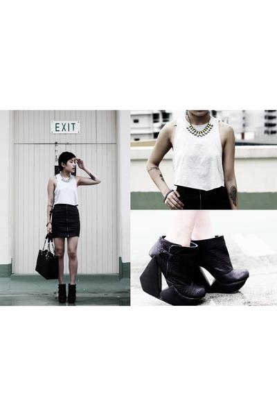 black Chanel bag - black H&M skirt - black Irregular Choice wedges