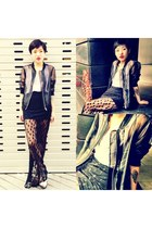 black H&M jacket - silver Topshop shoes - black asos skirt