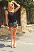 fringed no name skirt - square vintage bag - meli melo sunglasses