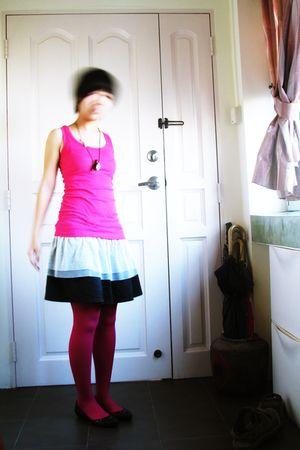 pink top - black skirt - pink leggings - black shoes