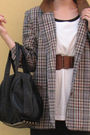 Brown-vintage-blazer-white-mongrel-t-shirt-black-vintage-dress-green-new-l