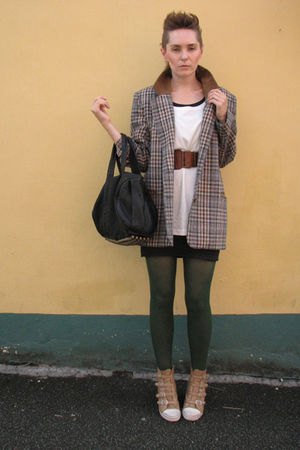 brown vintage blazer - white Mongrel t-shirt - black vintage dress - green new l